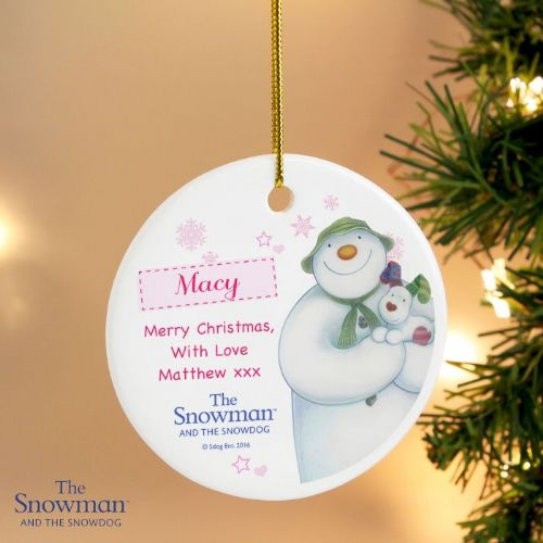 Personalised The Snowman and the Snowdog Pink Round Decoration